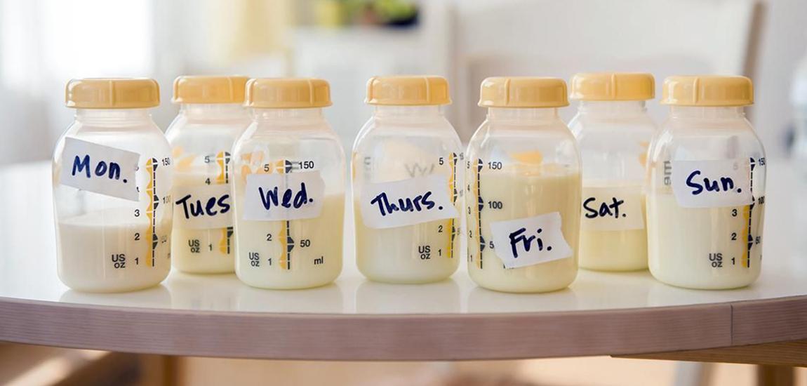 recipientes para extracción de leche materna